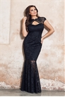 Jessica Wright Alexus Black Lace Keyhole Maxi Dress With Scallop Detail