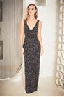 Sistaglam Glamy black sleeveless plunge iridescent all over embellished maxi dress