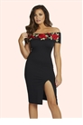 Jessica Wright Jordiana Black Embroidered Bardot Bodycon Dress