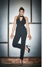 Jessica Wright Kimmy Black High Neck Plunge Jumpsuit