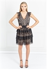 Sistaglam Junia Black V Neck Tiered Crochet Lace Skater Dress