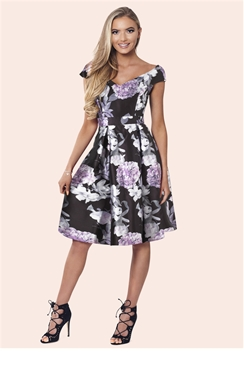 Sistaglam Hyacinth Multicolour Floral Print Dress