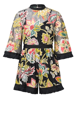 Jessica Wright Kelani multi fringe organza oriental print playsuit with flare sleeve detail