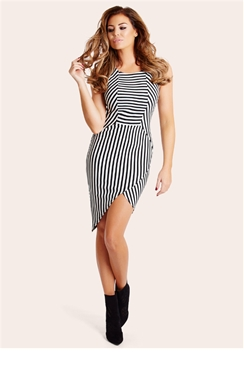 Jessica Wright Callie Mono Striped Asymmetric Hem Dress