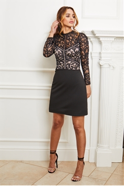 Sistaglam Deela black lace high neck with long sleeve mini dress
