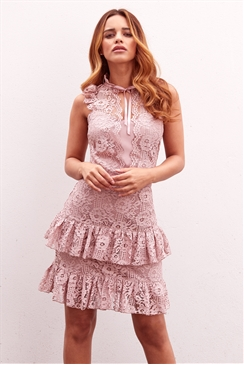 Sistaglam Jasmine blush all over lace frill mini dress
