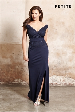 Petite Jessica Wright Shayda Navy Bardot Vip Sequin Slim Fitting Maxi Dress
