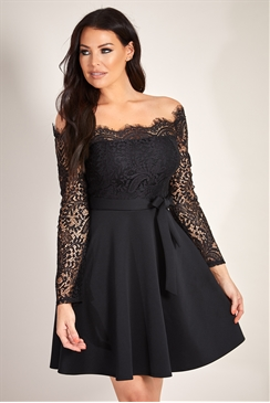 Sistaglam Loves Jessica Wright  Cherrell black eyelash trim detail long sleeve skater dress
