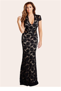Jessica Wright Belle Black Lace Cut Out Maxi Dress