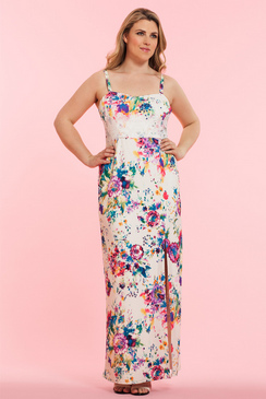 Curvy Orla strapless Maxi Dress in Floral