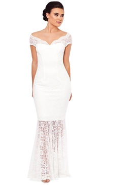 Sistaglam Carrisa White Lace Bardot Wedding Gown