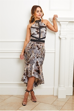 Sistaglam Aurora multi satin animal print dress with halter neck and trims