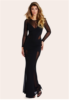 Sistaglam Jannah Black Mesh Insert Maxi Dress