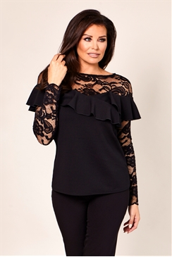 Jessica Wright Phoebe Black Lace and Frill Detail Top