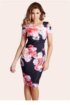 Jessica Wright Avery Floral Print Cold Shoulder Bodycon Dress