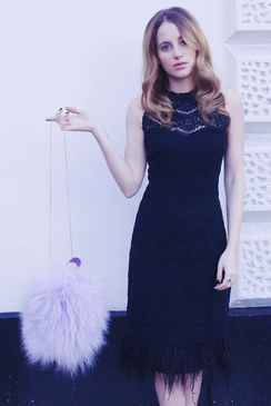Black Rosie Fortescue Cannes Lace Feather Dress