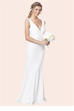 Sistaglam Destiny White Lace Slim Fit Wedding Dress