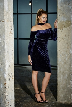 Jessica Wright Jessy Navy Velvet Choker Bardot Midi Dress