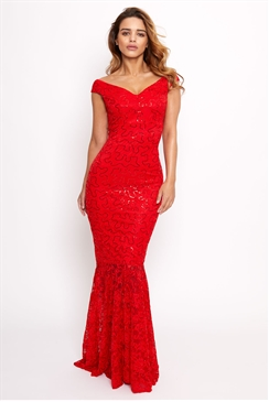 Sistaglam Lulia red sequin lace maxi dress with fish tail
