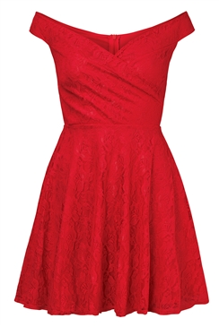 Sistaglam Martina Red Lace Bardot Prom Dress