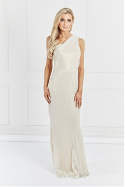 Sistaglam Cloella One Shoulder Bell Sleeve Light Gold Maxi Dress