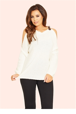 Jessica Wright Harley Cream Buckle Knit Jumper