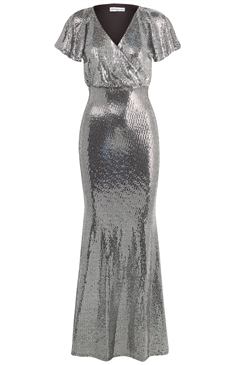 Sistaglam Loves Jessica Wright Valorie Silver v neck maxi dress