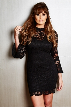 Jessica Wright Juliet Black Flared Sleeve Lace Bodycon Dress