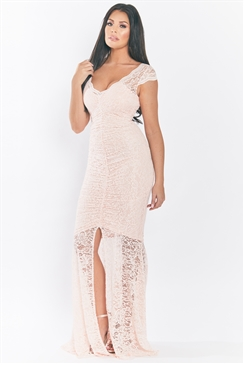 Jessica Wright Kaylie Blush V Neck Lace Short Sleeves With Frilled Dress And Frill Hem Maxi Dress