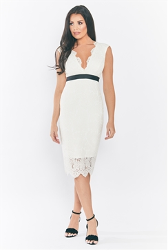 Jessica Wright Aaliyah Monochrome/ Cream all over lace bodycon midi dress