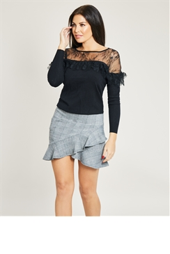 Jessica Wright Grey Frill Asymmetric Mini Skirt