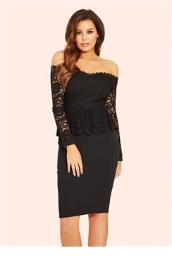 Jessica Wright Phoenix Bardot Lace Peplum Bodycon Dress