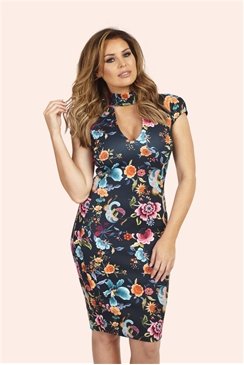Jessica Wright Alma Floral Print High Neck Plunge Bodycon Dress