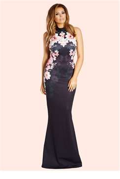 Jessica Wright Peaches Halterneck Placement Print Maxi Dress