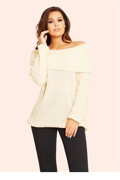 Jessica Wright Alia Cream Off The Shoulder Knit Jumper