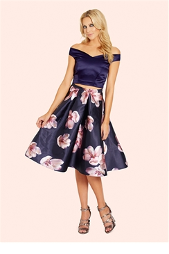 Sistaglam Irena Floral Sateen Pleated Midi Skirt