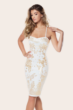 PETITE GEORGINA WHITE & GOLD DRESS