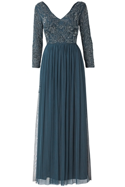 Sistaglam Special Edition Jessica Rose Adriannie Long Sleeve Embroided Bodice Maxi Dress