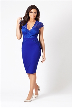 Jessica Wright Debbie Cobalt Lace Detail Bodycon Dress