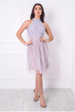 Sistaglam Selianna Lilac Sequin High Neck Top Styled Maxi Dress