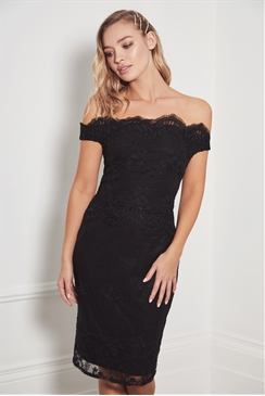 Sistaglam Ziane black lace bardot midi dress