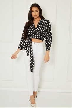 Sistaglam Loves Jessica Wright Ellar black polka dot wrap top with tie