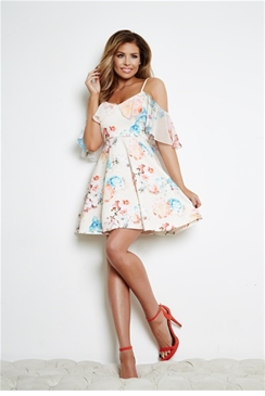 Jessica Wright Clara Cream Floral  Cold Shoulder Skater Dress