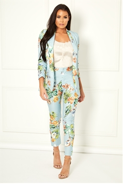Jessica Wright Andie blue multi tailored floral print blazer