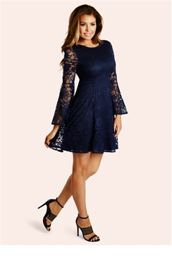 Jessica Wright Halle Lace Flared Sleeve Skater Dress