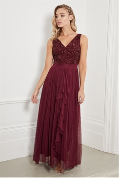 Sistaglam Yasmin Berry sleeveless embroidered bodice chiffon maxi skirt