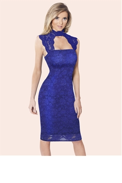 Sistaglam Aubrey Royal Lace Bodycon Dress