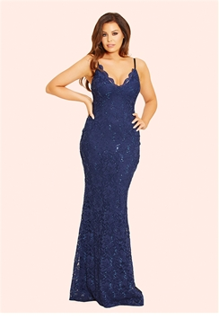 Jessica Wright Shana Navy Lace Cami Strap Maxi Dress