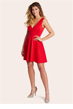 Lipstick Boutique Petite Sonia Red Plunge Front Skater Dress