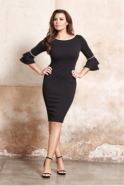 Jessica Wright Adriana Black Double Flute Sleeve Pearl Detail Midi Dress